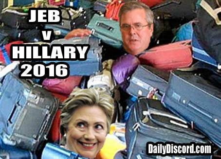 Jeb Bush V Hillary Clinton 2016, Hope they're not flying American with those stricter weight limits.