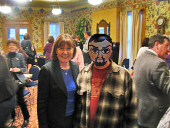 Mick Zano sporting his lesbian lingerie with Ann Kirkpatrick (D)