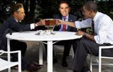Backyard Beer Summit: Obama Meets Jon Stewart and CNN's Rick Sanchez over Beer