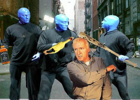 Blue Man Group Works over James Cameron