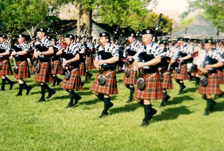 Bagpipers belting out Amazing Grace