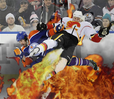 Flames/Oilers Hockey Check Causes Deadly Explosion