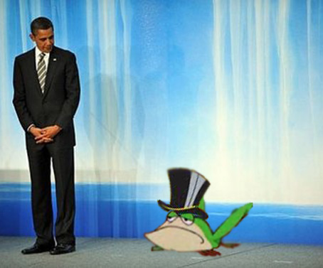 "Obama Humiliated by ""Singing Frog"" Sensation"