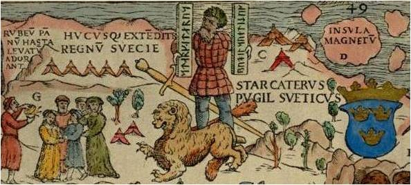"Part of the Carta Marina of 1539 by Olaus Magnus, depicting the location of magnetic north vaguely conceived as ""Insula Magnetu[m]"" (Latin for ""Island of Magnets"") off modern day Murmansk. The man holding the rune staffs is the Norse hero Starkad."