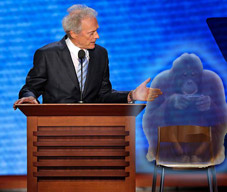 clint eastwood's chair. identify of person identified as Clyde the Orangutan from the every which way movies